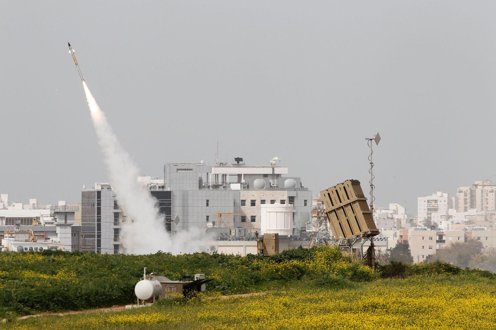 An Iron Dome launcher fires an interceptor rocket near Ashdod