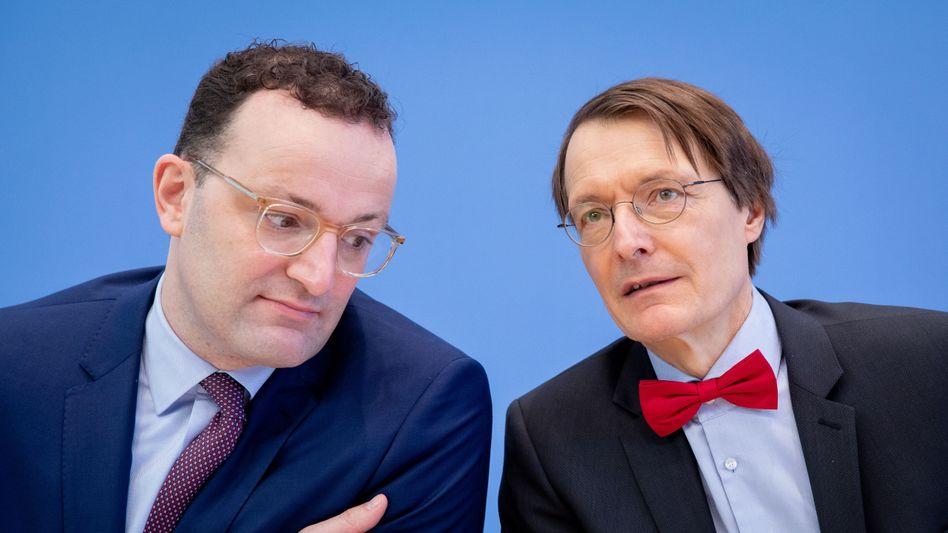 Gesundheitsminister Jens Spahn von der CDU und SPD-Gesundheitsexperte Karl Lauterbach