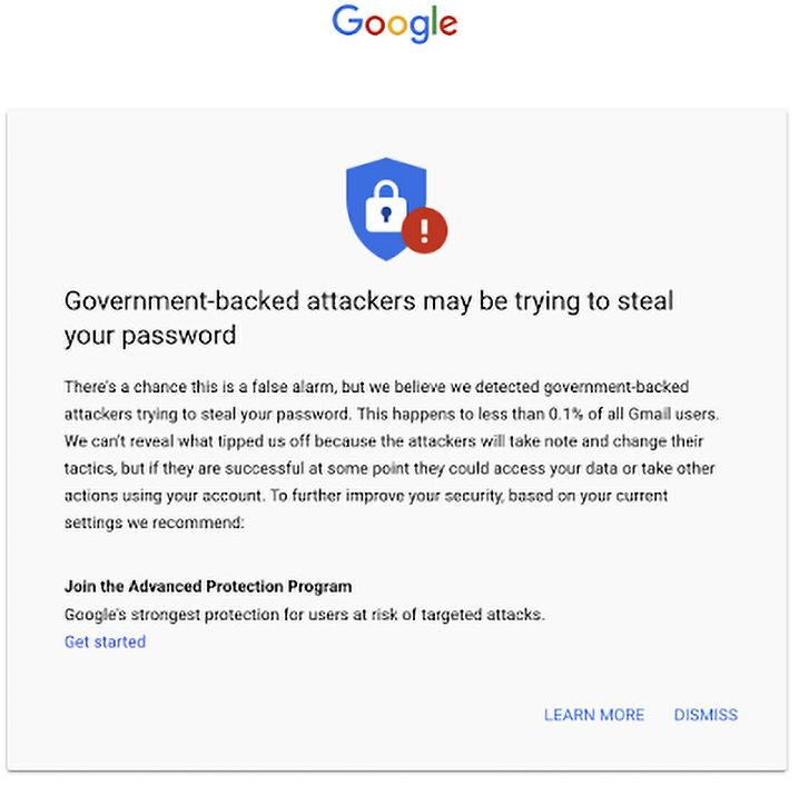 So sieht die Warnung aus, die Nutzern angezeigt wird. Sie wird direkt über das GMail-Postfach gelegt