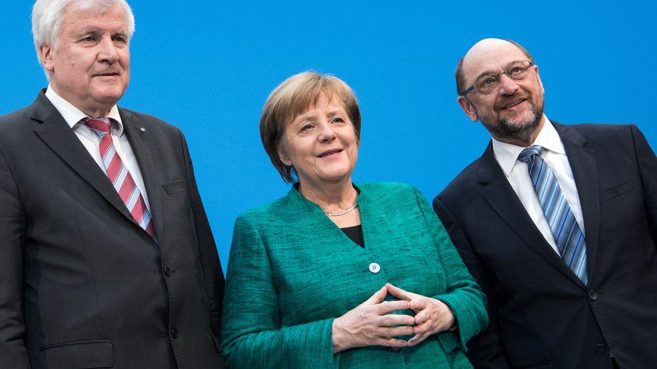 CSU-Vorsitzender Seehofer, Kanzlerin Merkel, SPD-Chef Schulz