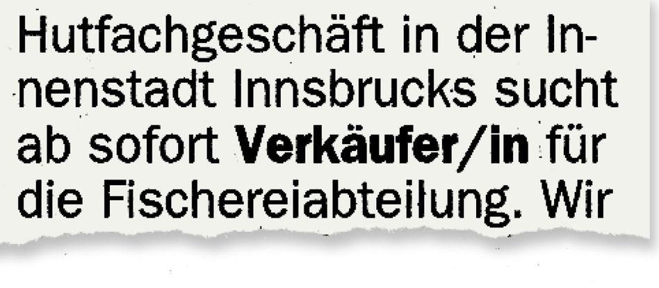 Anzeige aus der Tiroler Tageszeitung