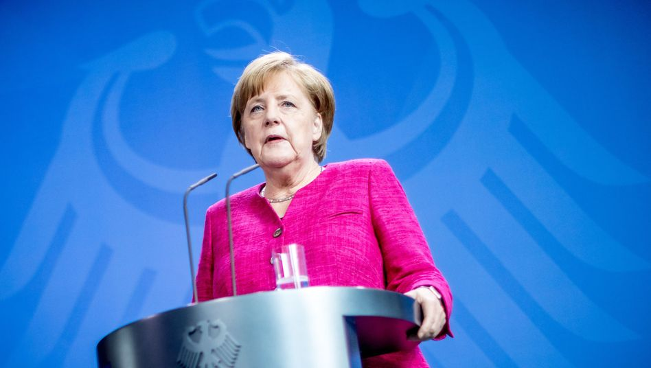 German Chancellor Angela Merkel speaking at the Chancellory
