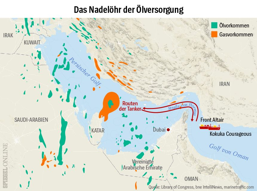 GRAFIK Karte - Das Nadelöhr der Ölversorgung - Tanker