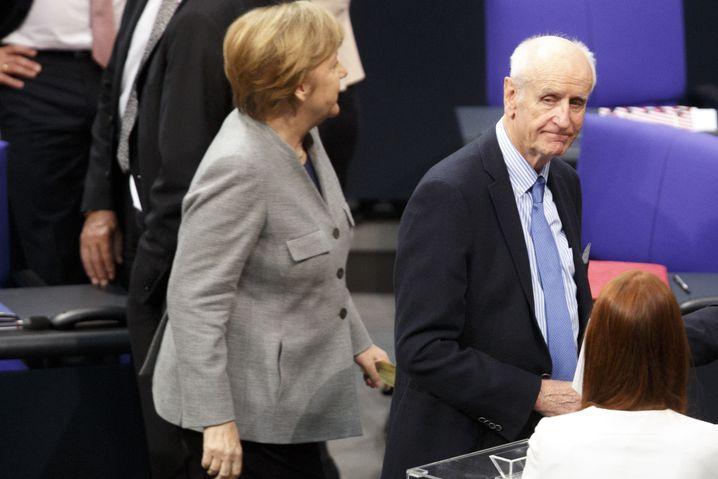 CDU-Politikerin und Kanzlerin Merkel, AfD-Abgeordneter Glaser