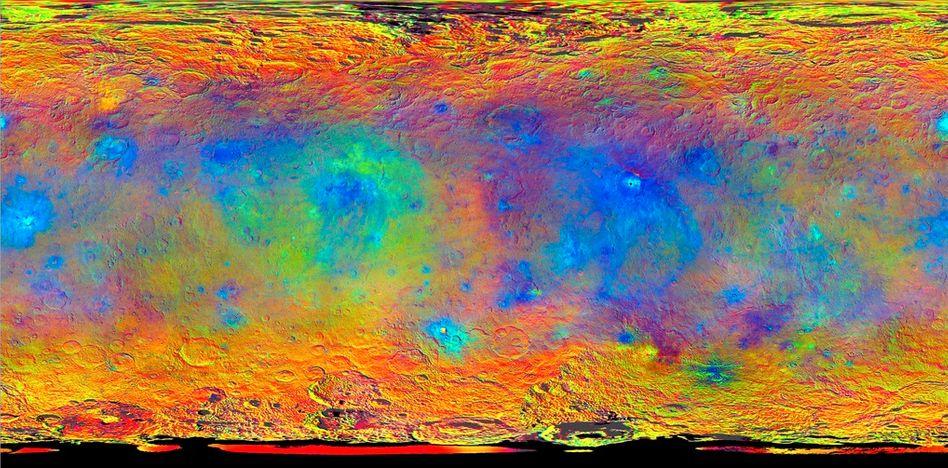 Bunte Planetenbilder: Farbfilter machen die Oberflächenstrukturen von Ceres sichtbar