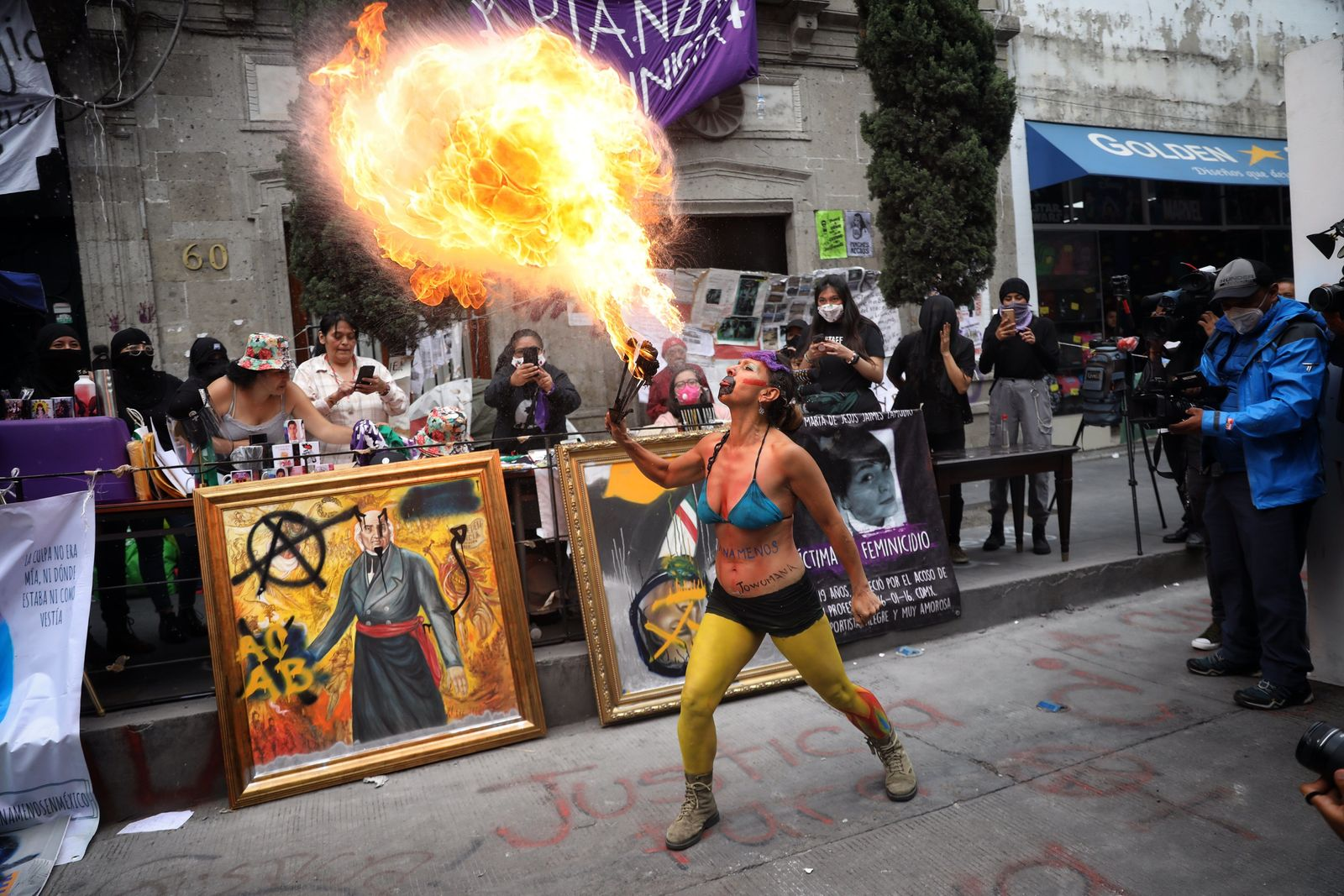 Protest during occupation of the headquarters of the National Human Rights Commission in Mexico City - 08 Sep 2020