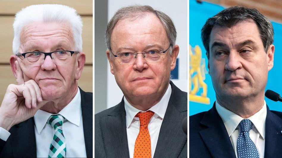 Die Autobauer-Landesväter: Winfried Kretschmann, Stephan Weil und Markus Söder
