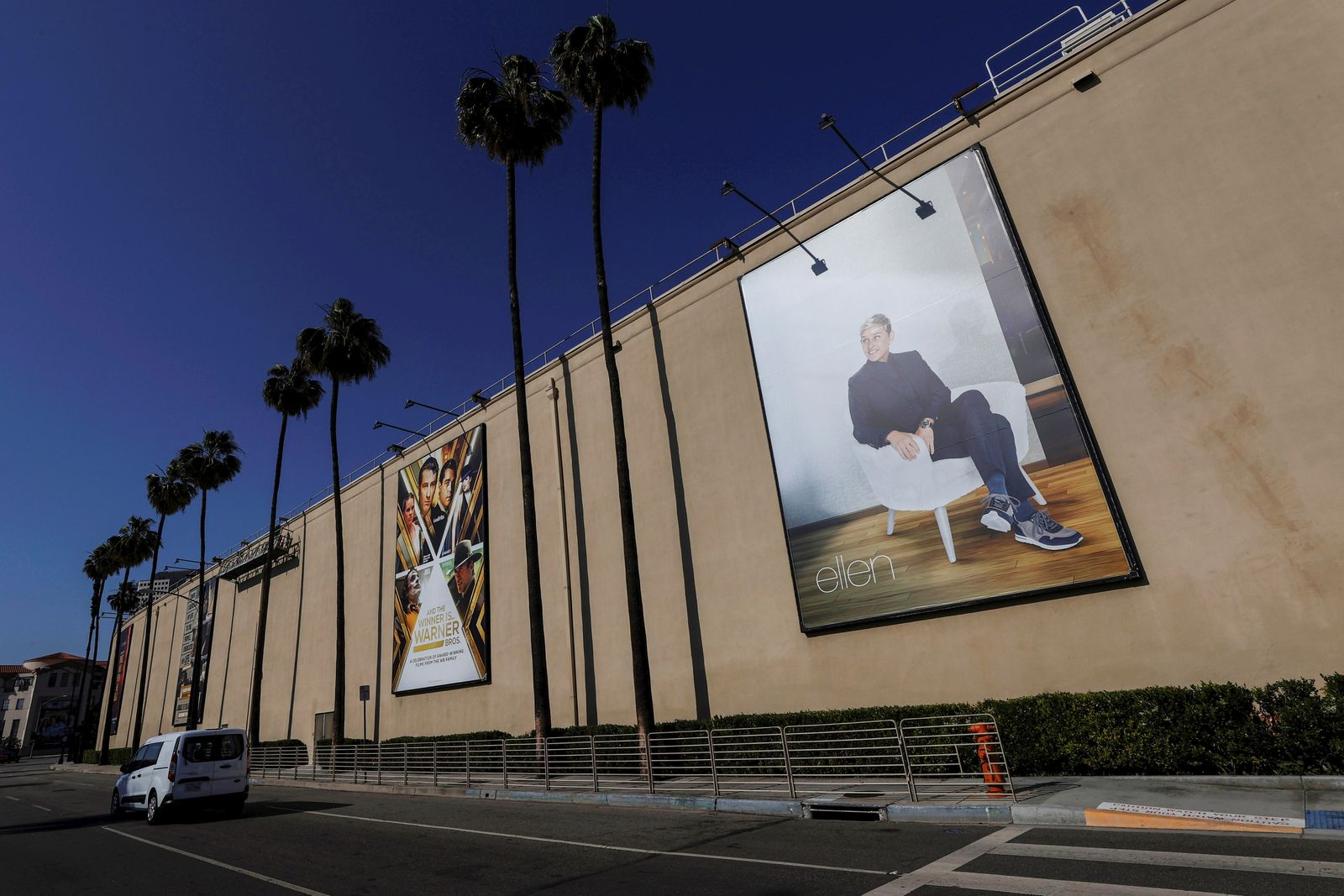 """A billboard advertising """"The Ellen DeGeneres Show"""" is pictured outside the Warner Bros. Lot where the talk show is taped, in Burbank, California"""