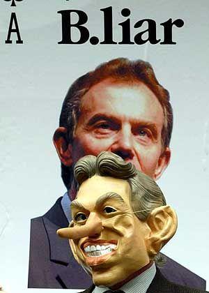 Karikatur Tony Blairs: Die Mehrzahl glaubt, dass er lügt
