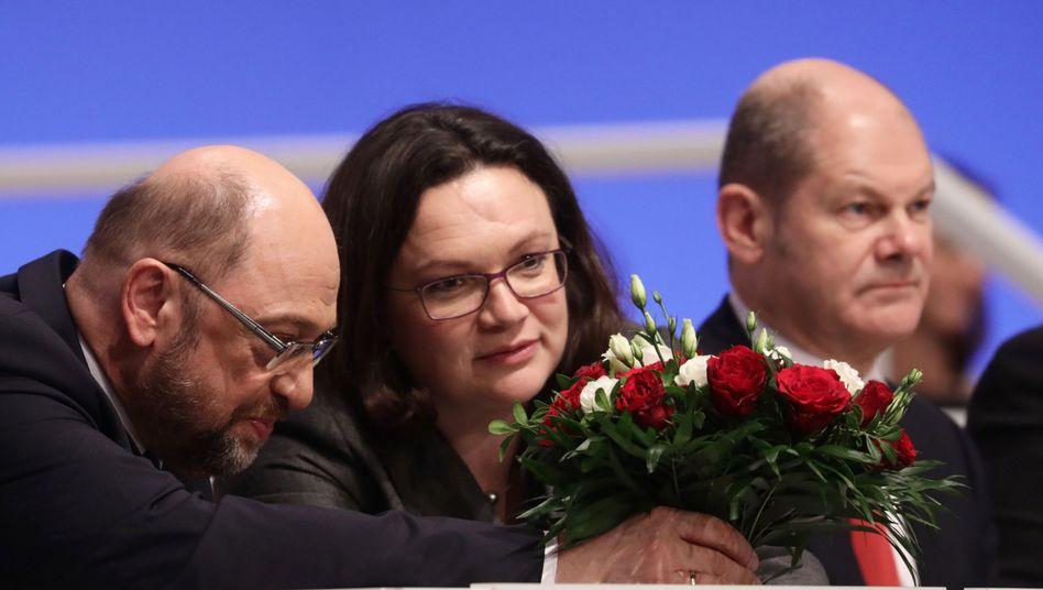 Martin Schulz, Andrea Nahles und Olaf Scholz (v.l.)
