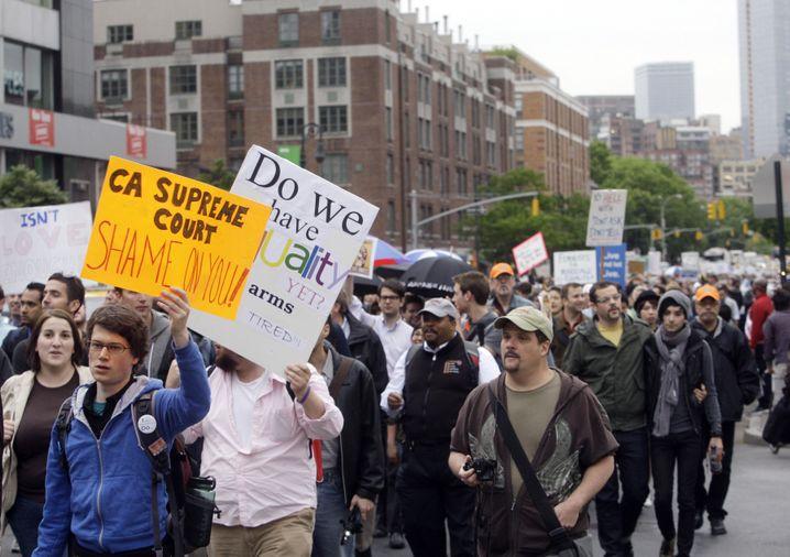 Demonstration für die Homo-Ehe in New York: Schwule und Lesben sind von Obama enttäuscht