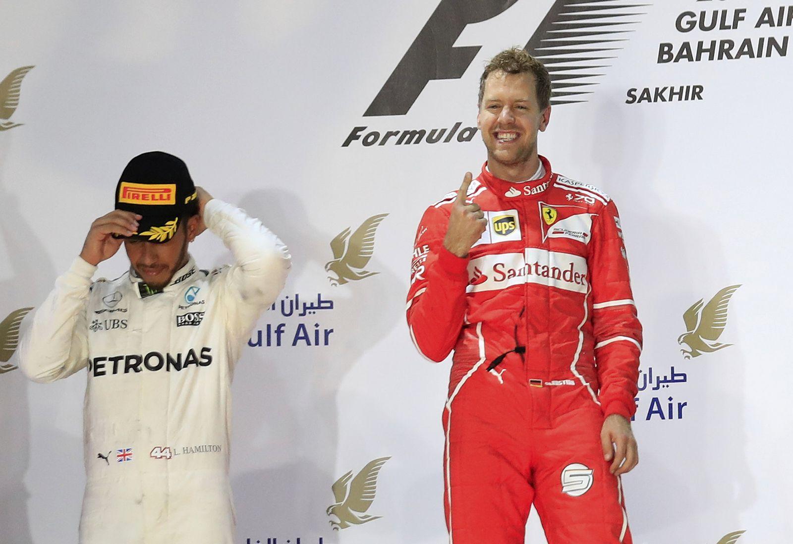 Formel 1 - Grand Prix von Bahrain Vettel Hamilton
