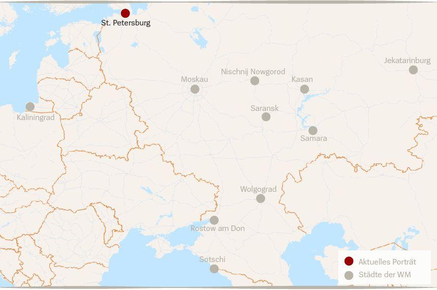 Karte Russland WM Städte St. Petersburg