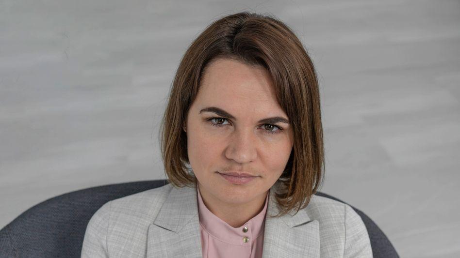 Swetlana Tichanowskaja beim SPIEGEL-Gespräch in Vilnius