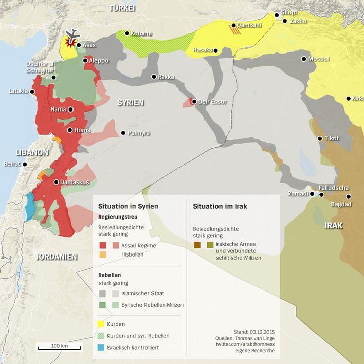 Überblick: Abschussort weit im Westen, Silopi und Zakho im Osten