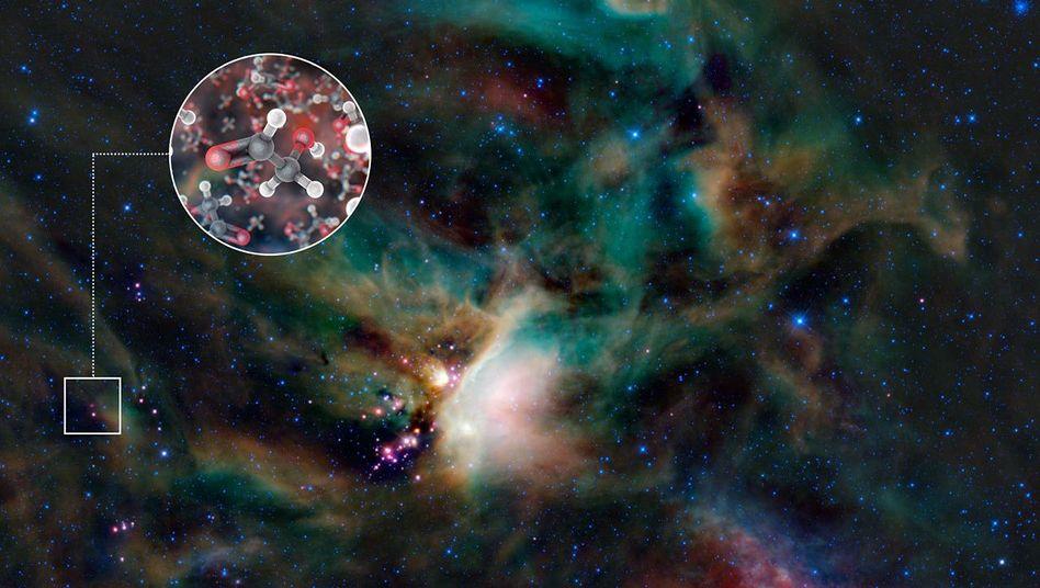 Sternentstehungsregion Rho Ophiuchi mit Glycolaldehyd-Molekülen (künstlerische Darstellung): Grundzutat des Lebens in entstehendem Planetensystem
