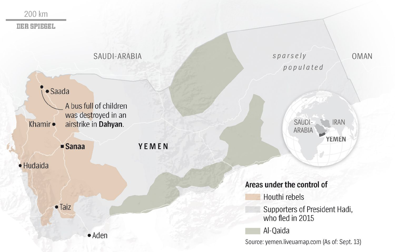ENGLISH VERSION GRAFIK DER SPIEGEL 38/2018 Seite 91 - Map Yemen - Karte Jemen