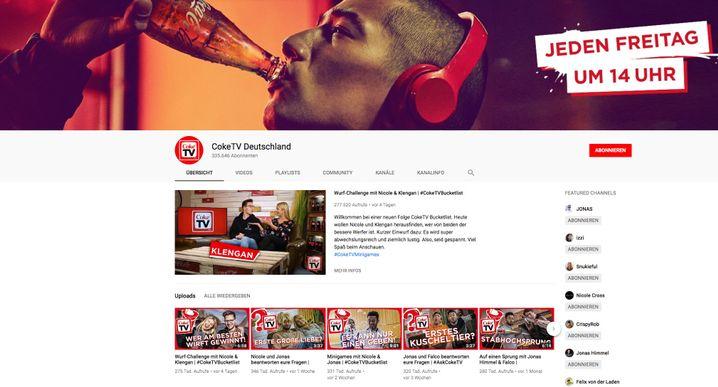 "Screenshot von ""Coke TV"" bei YouTube"