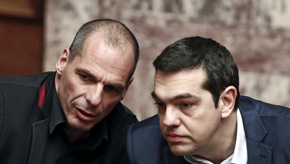 Premierminister Tsipras (r.), Finanzminister Varoufakis: Brief aus Athen
