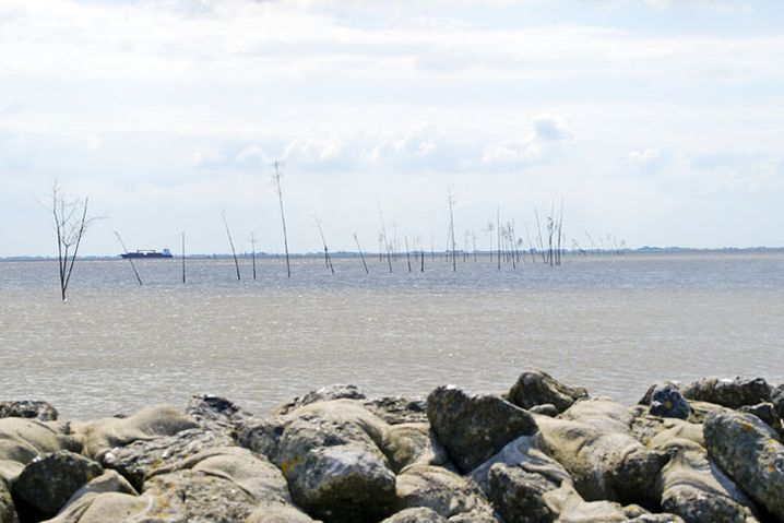 Das Steinufer, das Meer, die Barken und der Himmel verleihen dem Bild Tiefe