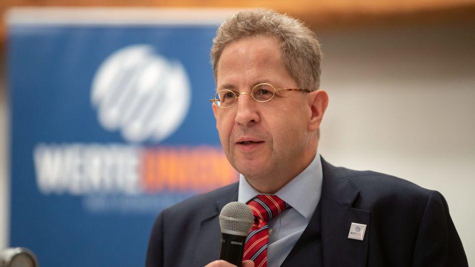 Ex-Verfassungsschutzpräsident Hans-Georg Maaßen (CDU) bei einer Wahlkampfveranstaltung in Thüringen (2019): Gesinnungstest für Redakteure gefordert