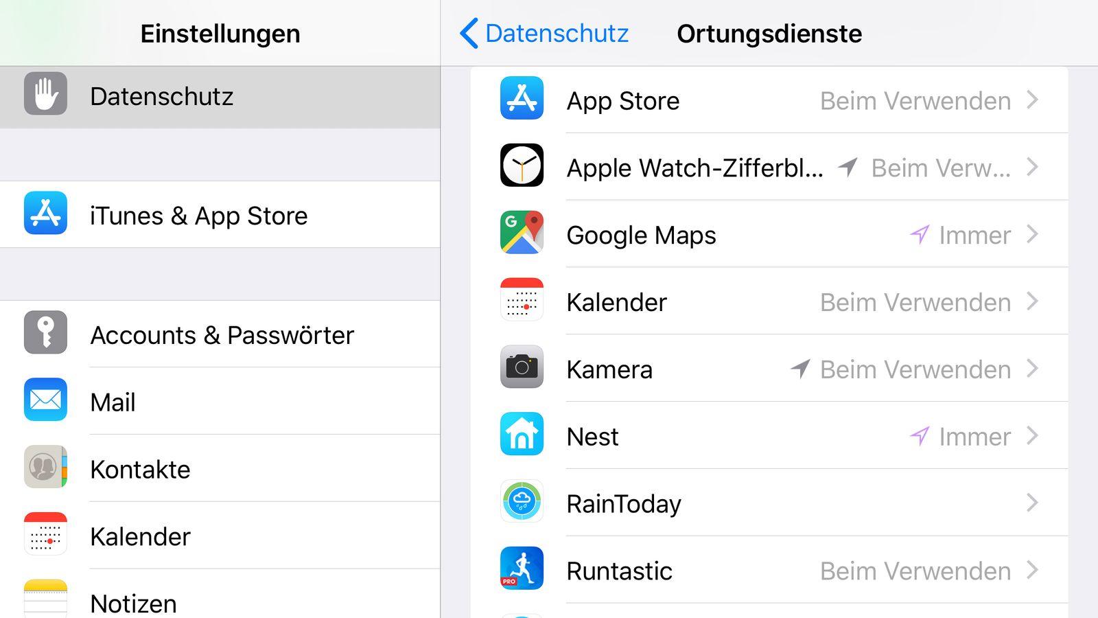 NUR ALS ZITAT Screenshot IOS 11 Datenschutz