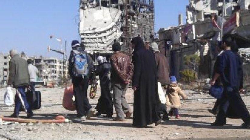 Evakuierte Einwohner in Homs