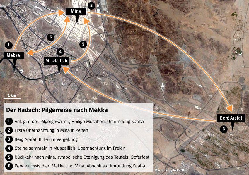 Karte Unglück in Mekka - Hadsch