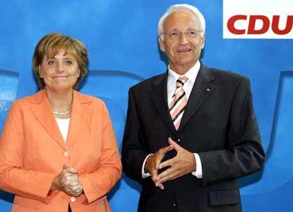Merkel und Stoiber: Applaus der Spitzengremien