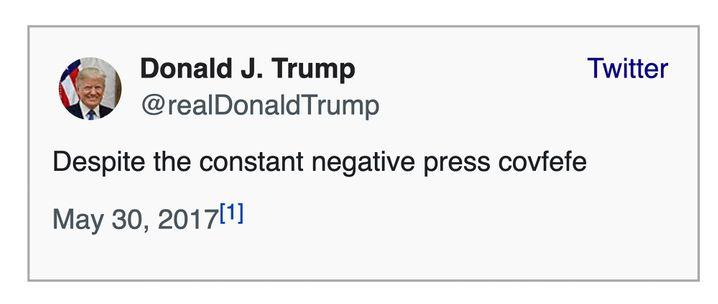 Der Covfefe-Tweet bei Wikipedia