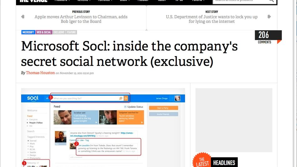 "Microsofts ""Socl"": Screenshot von bei ""The Verge"":"