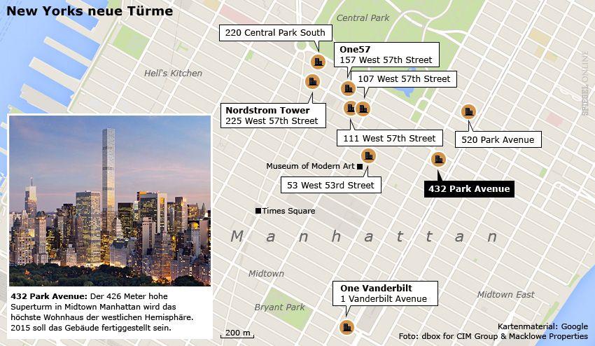 Karte - New Yorks neue Türme - 432 Park Avenue