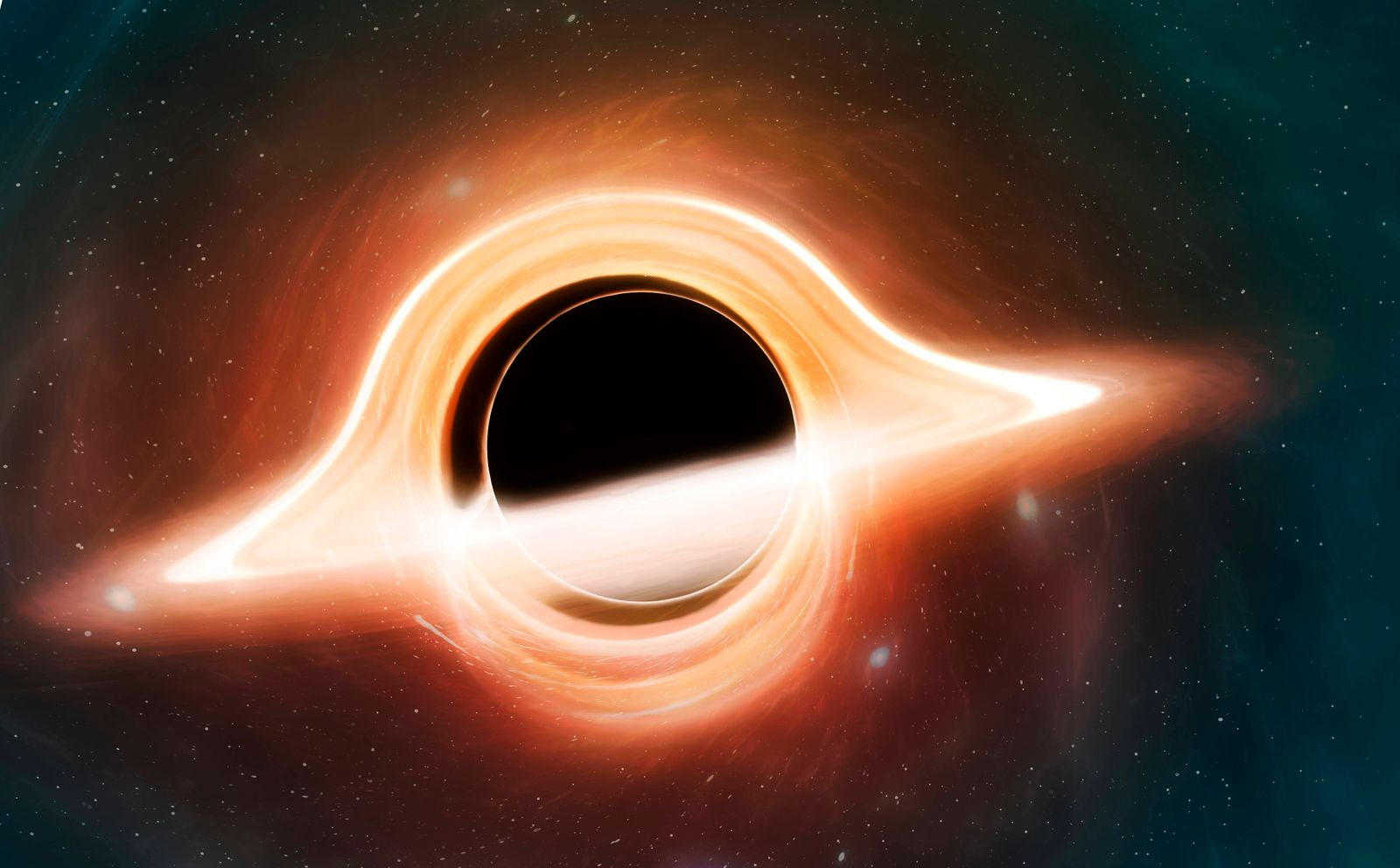 Black hole seen from a planet, illustration Illustration of a black hole. A black hole is a region of spacetime where th