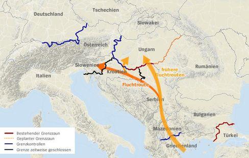 Die wichtigsten Fluchtrouten über den Balkan