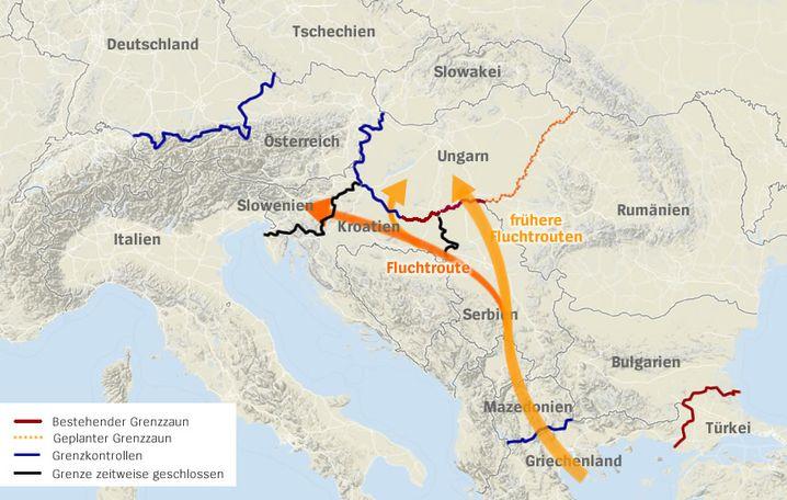 Flüchtlingsroute über Griechenland und den Balkan