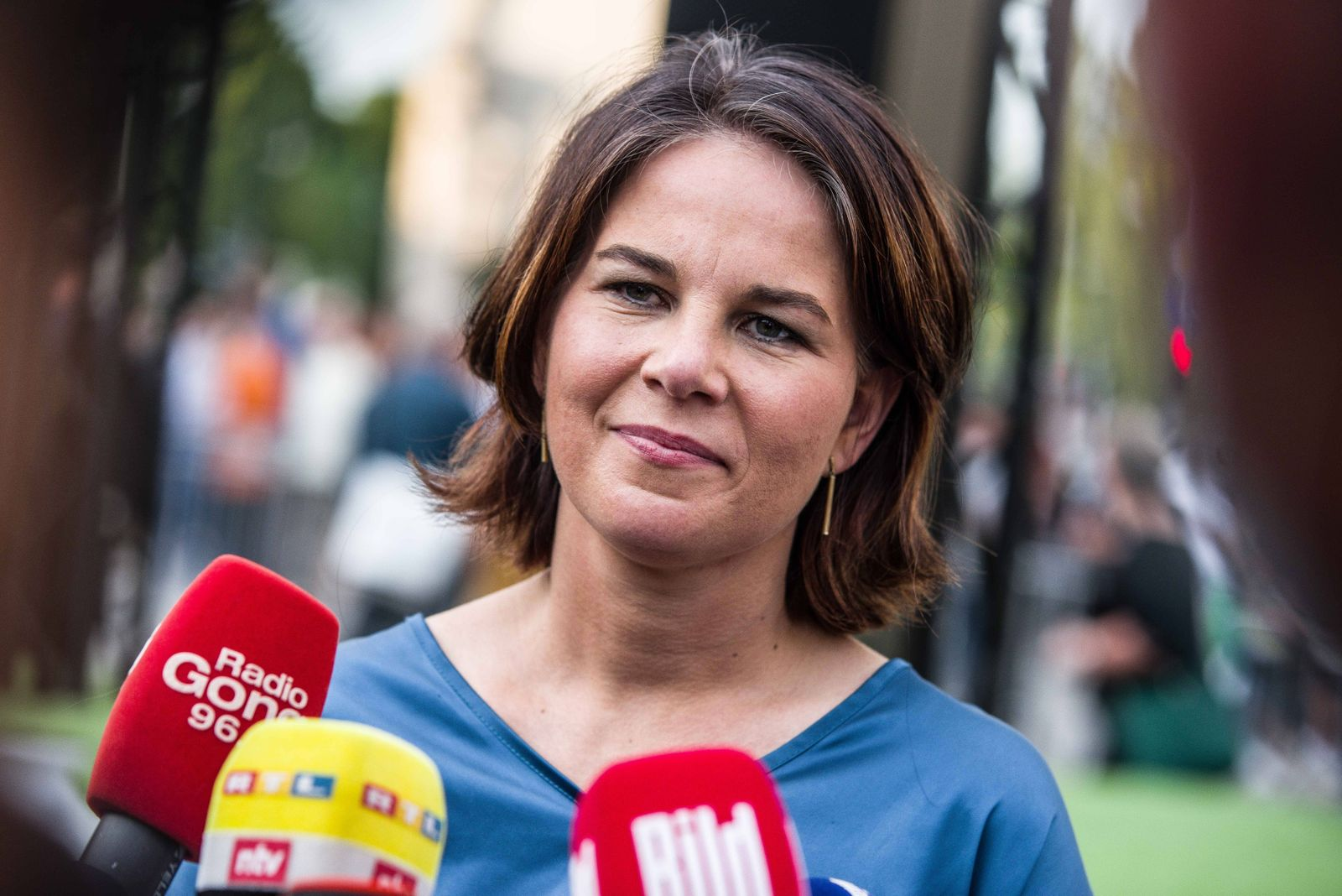 September 9, 2021, Munich, Bavaria, Germany: The Green candidate for Chancellor of Germany Annalena Baerbock during a p