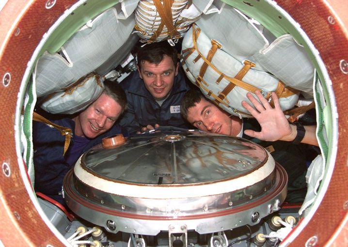 ISS-Astronauten bei Freizeitgestaltung.