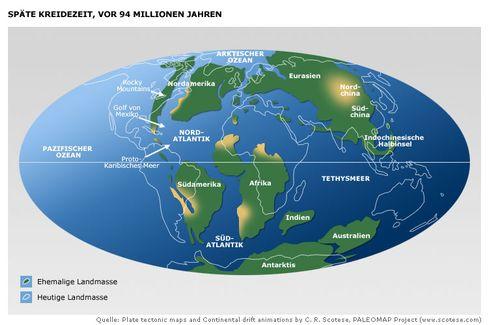 Die Welt der Kreidezeit: Die Antarktis lag schon damals am Pol, die Forscher vermuten die Eisbildung am ehesten dort