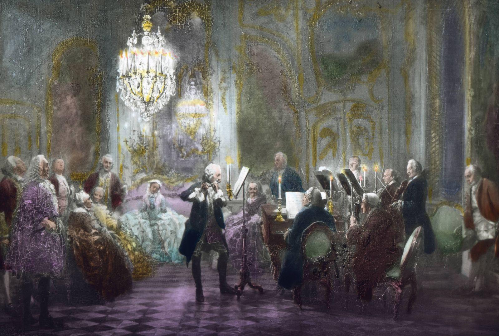 Friedrich der Große Friedrich der II gibt das Flötenkonzert von Sanssouci Germany Prussia monarc