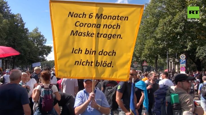 """Protesters in Berlin in August 2020: """"A significant influence on the formation of public opinion to the detriment of confidence in our democracy."""""""