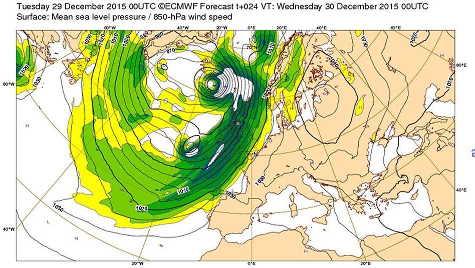 Vorhersagekarte des Luftdrucks für Mittwochfrüh: Ein extremes Tiefdruckgebiet im Nordatlantik saugt milde Luft aus Süden zum Nordpol