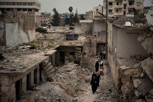 Idlib nach Luftangriffen