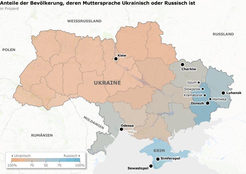 Karte - Ukraine - Anteile der Bevölkerung, deren Muttersprache Ukrainisch oder Russisch ist v8