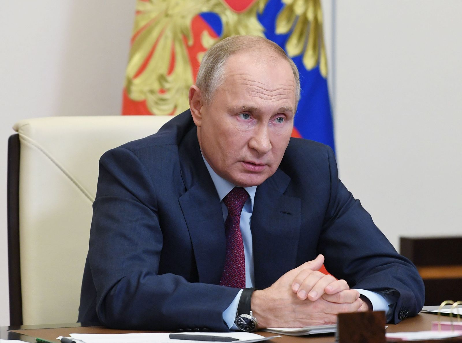 Russian President Vladimir Putin chairs meeting with members of the government via teleconference call, Novo Ogaryovo, Russian Federation - 18 Nov 2020