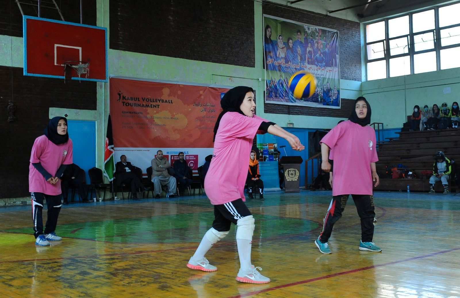 Afghan women play Volleyball