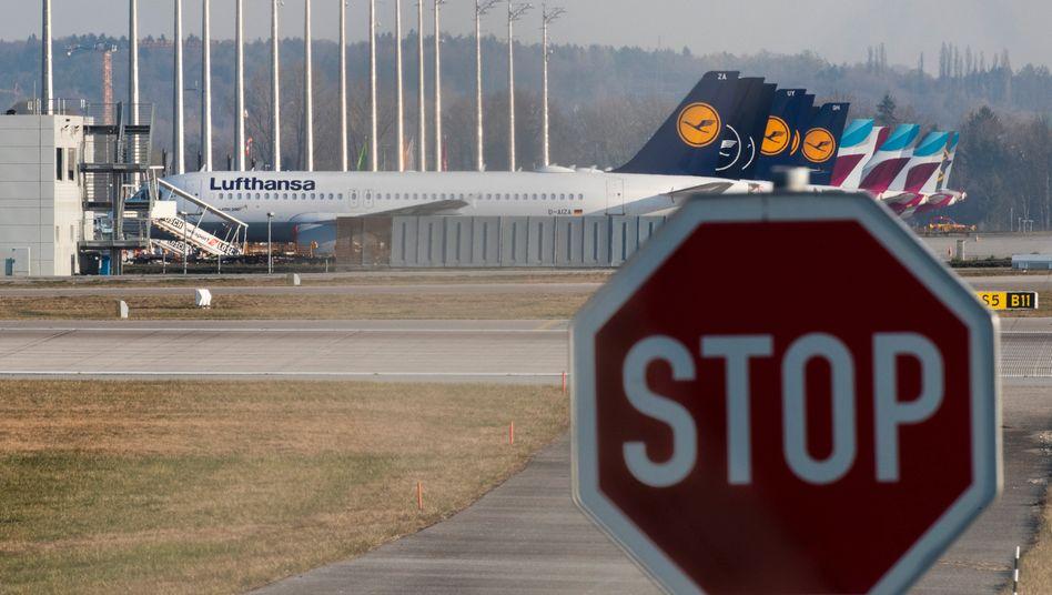 Stillgelegte Lufthansa-Maschinen in München