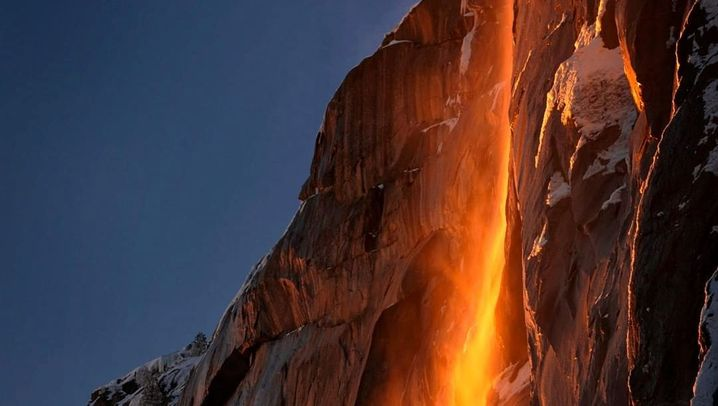 Naturspektakel im Yosemite Nationalpark: Der glühende Wasserfall
