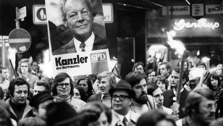 Demonstration von SPD-Anhängern (1974 in Bonn)