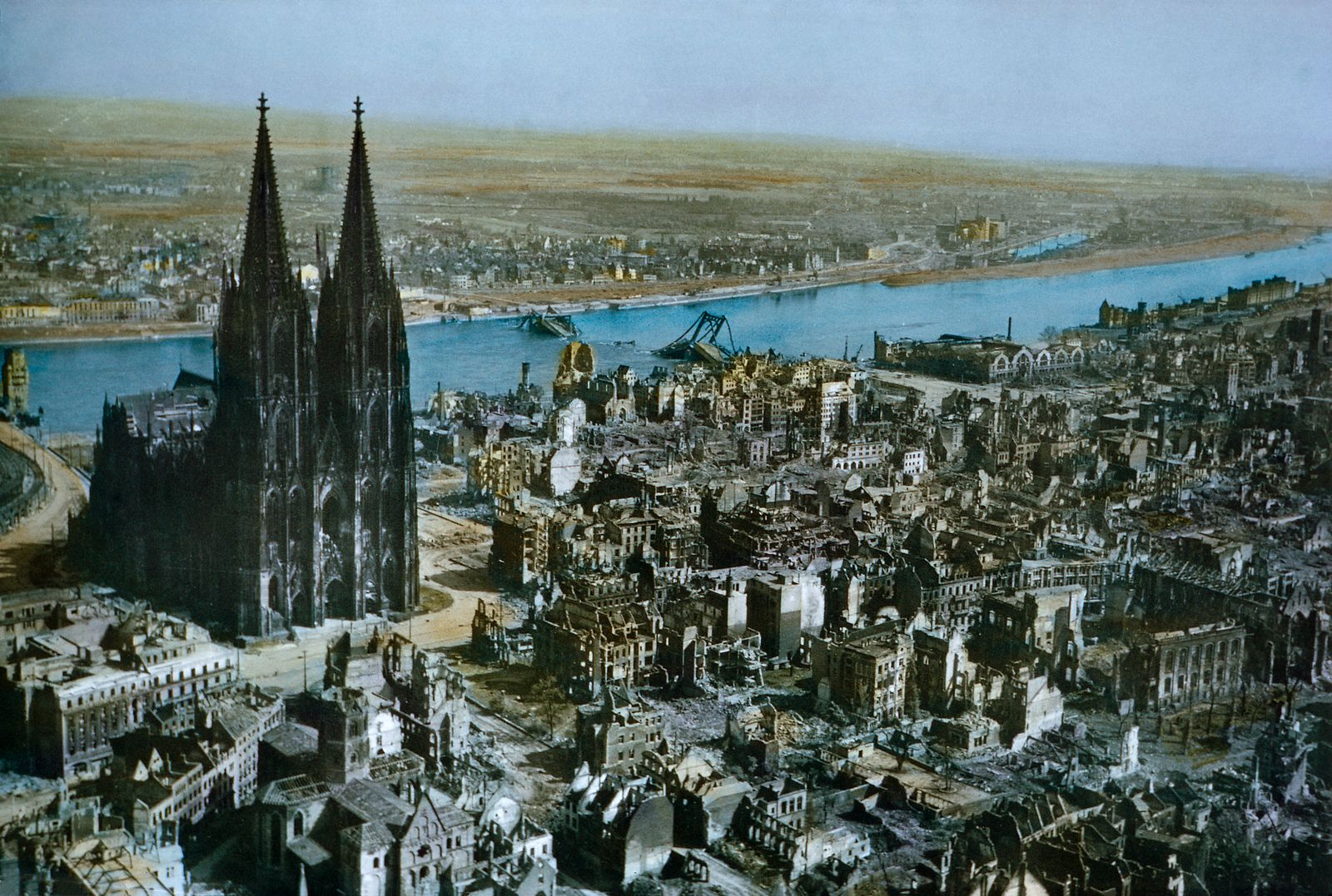 Damaged City and Rhine River, Cologne, Germany, Rhineland Campaign, 1945