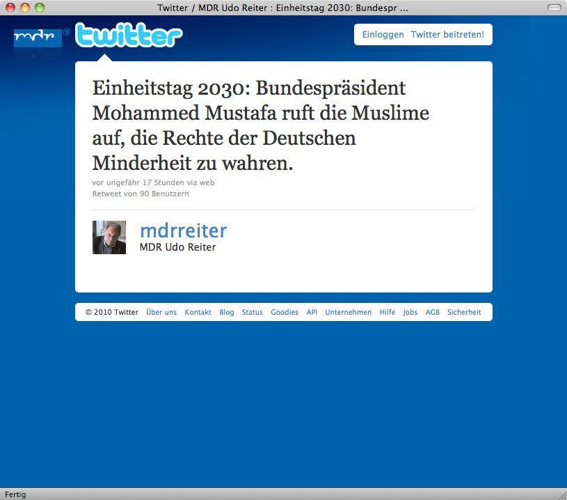 Screenshot/ Twittter/ MDR/ Udo Reiter